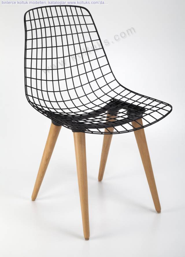 Ahşap Ayaklı Madin Metal Sandalye