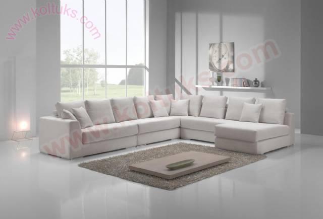 Beyaz Modern Salon Köşe Koltuk Takımı