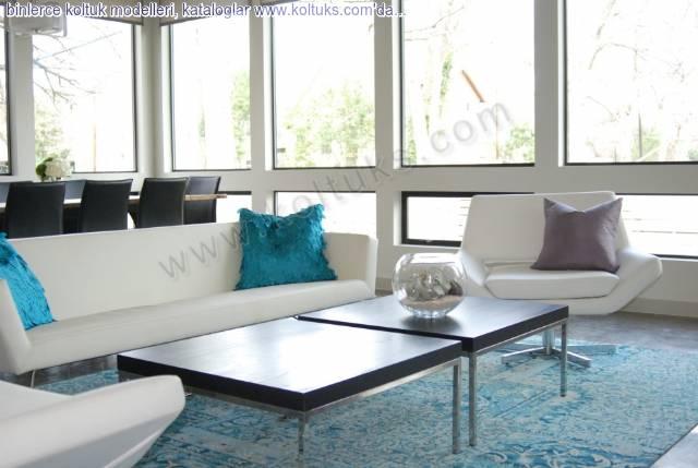 Beyaz Renklı Turkuaz Yastıklı Modern Koltuk Takımı