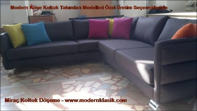 Gri Modern L Köşe Koltuk Ev Ofis
