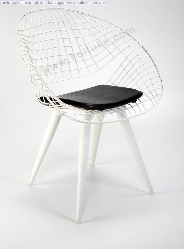 Hilal Sandalye Beyaz Ahşap Ayaklı Minderli