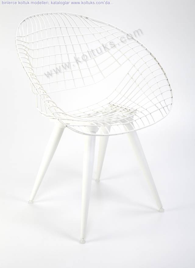 Hilal Sandalye Beyaz Ahşap Ayaklı Mindersiz