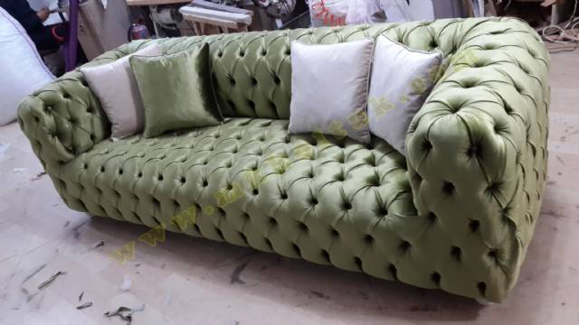 Kadife Yeşil İtalyan Chester Koltuk Parlak Renk