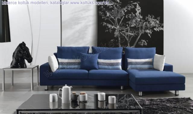 Lacivert Beyaz Mavi Kombineli Köşe Koltuk Takımı