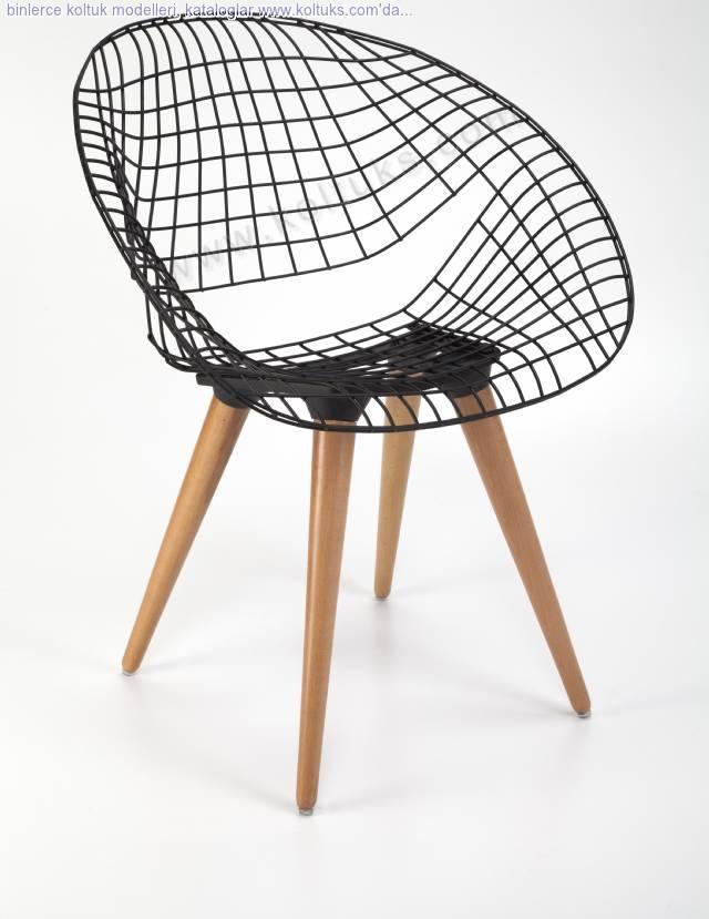 Metal Hilal Sandalye Ahşap Ayaklı
