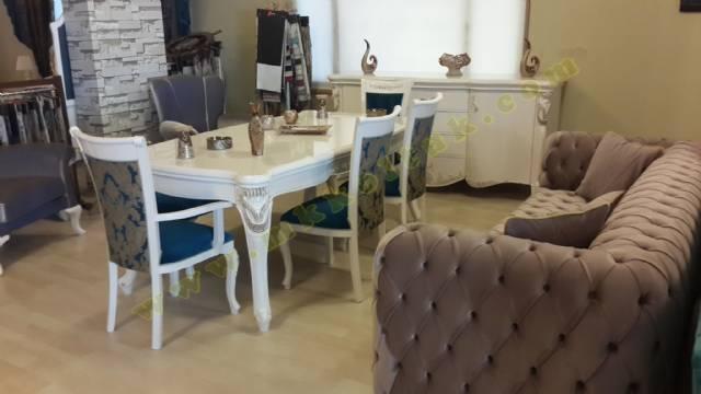 Parlak Chester Koltuk Ve Yemek Masası