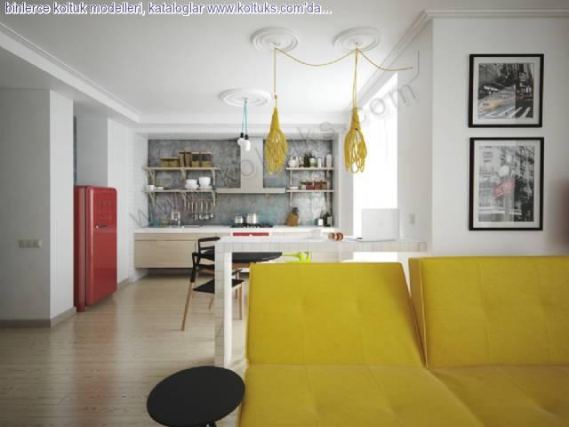 Sarı Modern Oturma Grubu