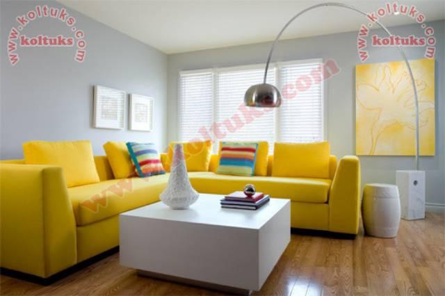 Sarı Renk L Köşe Koltuk Takımı