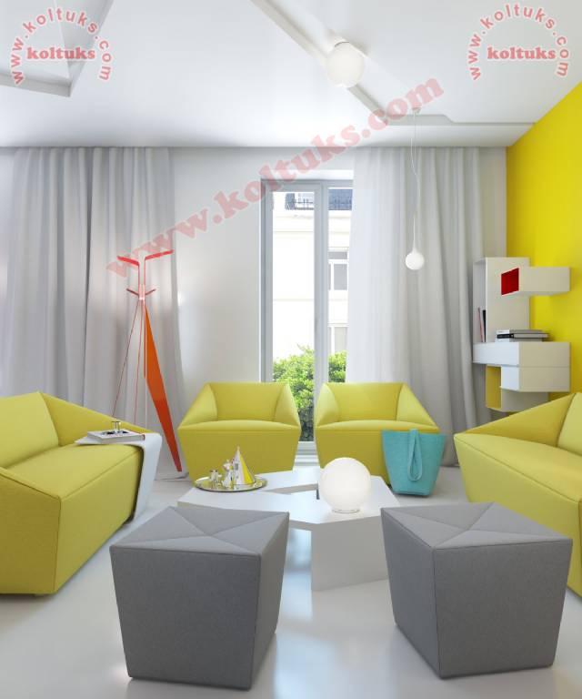 Sarı Renk Modern Oturma Grubu
