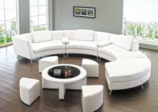 Yuvarlak modern koltuk takımı dekoratif sehpalı